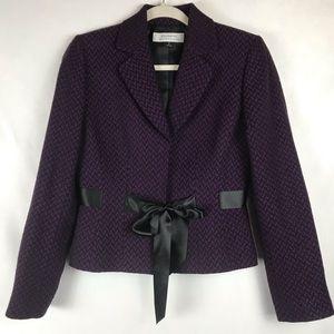 Tahari Blazer Satin Tie Chevron Purple Black 4